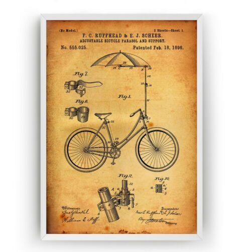 Unframed Poster Vintage Wall Art Gift Adjustable Bicycle 1896 Patent Print