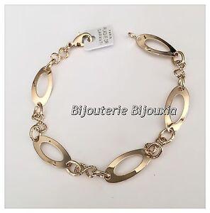Bracelet-Maillons-Ovales-Plaque-Or-18-carats-Garanti-NEUF-Bijoux-Femme