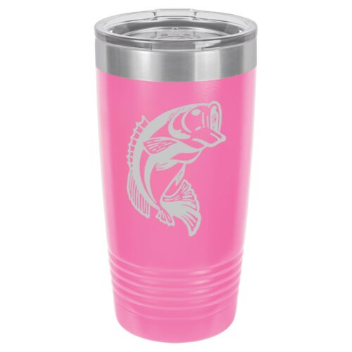 Tumbler 20oz 30oz Travel Mug Cup Vacuum Insulated Stainless Steel Bass Fish