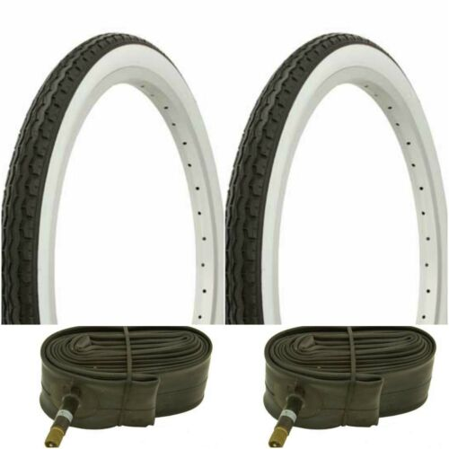 """Two WHITE WALL 20x1.75/"""" BIKE BICYCLE TRAILER JOGGER TIRES /& TUBES"""