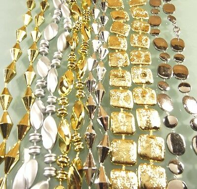 New 30 Pcs Long Shiny Gold Silver Beaded High Quality Mardi Gras Style Necklaces