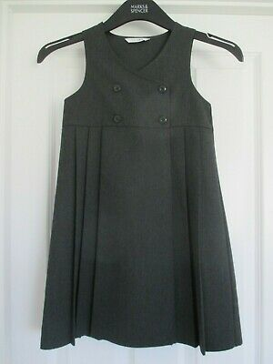 G NEW GIRLS EX M /& S NAVY ZIP FRONT PLEATED SCHOOL PINAFORE TUNIC AGE 5-11