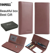 89e479a42ca6 Mens Genuine Leather Long Wallet Clutch Purse Bag ID Credit Card Holder  Billfold
