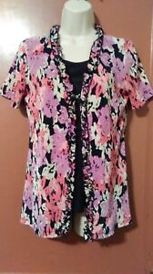 SAG-HARBOR-SHORT-SLEEVE-FLORAL-TOP-PREOWNED-GREAT-CONDITION-SIZE-SMALL