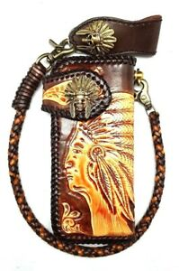 Biker-Chain-Wallet-motorcycle-trucker-tribal-chief-horn-tooled-engraved-Leather