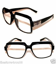 Men's Vintage Design Lens Eye Glasses Run DMC Old School Black Clear Silver