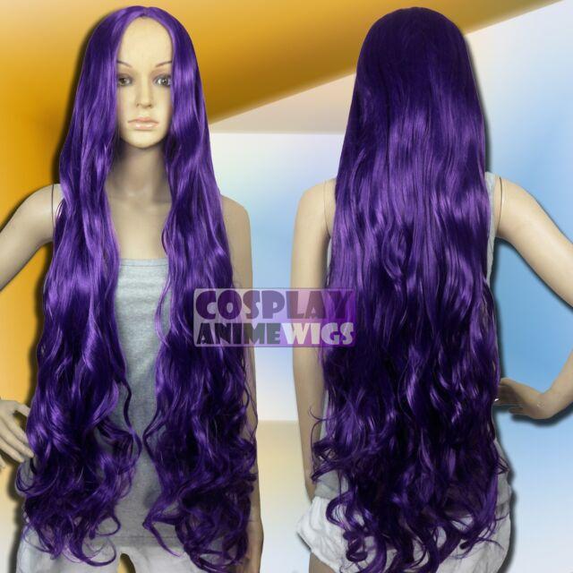 100 cm Dark Purple Heat Styleable No Bang Long Wavy Cosplay Wigs G_737