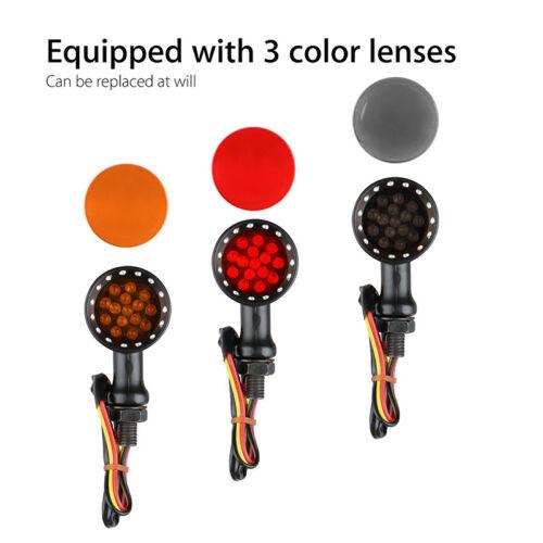 2 PAIR 12V Cruiser Motorcycle 15 LEDs Brake Running Turn Signals Light Red 10mm