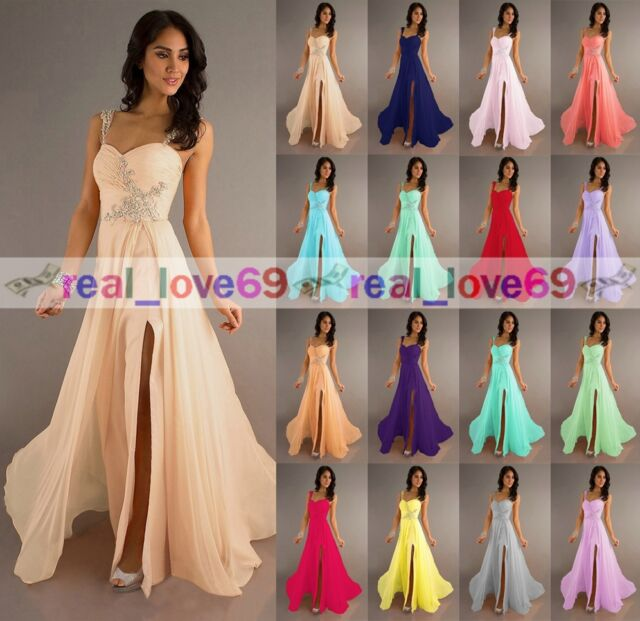 Fashion Chiffon Long Formal Wedding Evening Party Ball Gown Bridesmaid Dress6-18