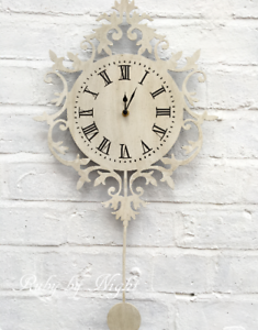 Image Is Loading Ornate Pendulum Wall Clock Ivory Distressed Shabby Chic