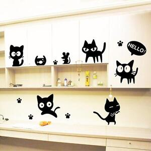 New-Black-Cats-DIY-Wall-Sticker-Removable-Wall-Decal-for-Room-Art-Wallpaper