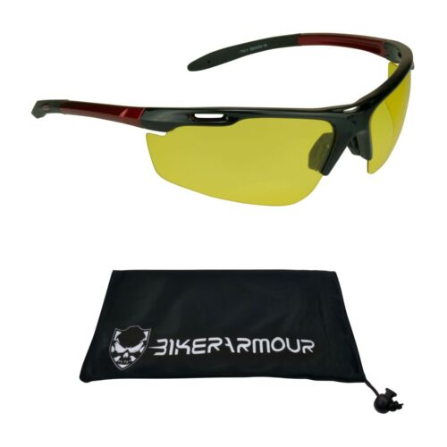 YELLOW POLARIZED HD Sunglasses Night Vision Driving Motorcycle Cycling Glasses