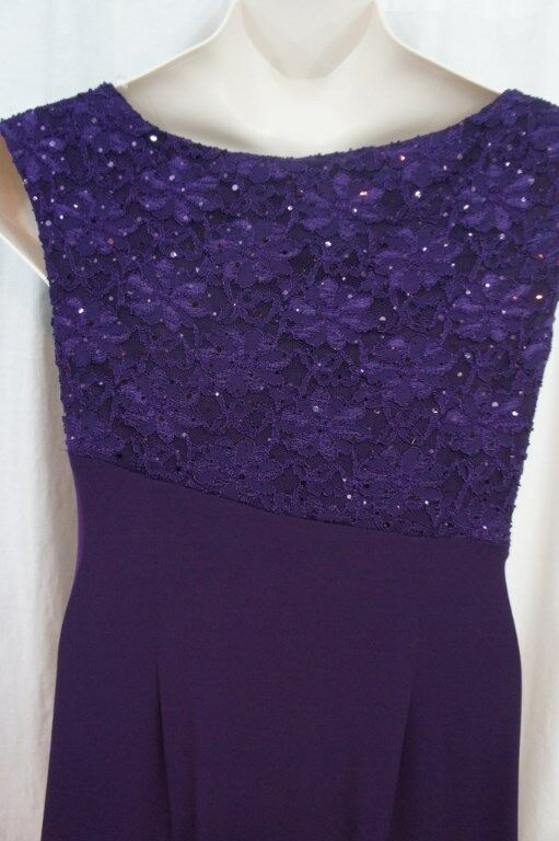 Connected Dress Sz 10 Eggplant Purple Laced Jersey Long Evening Evening Evening Formal Gown 1275bd