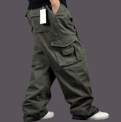 New Mens pockets Baggy Loose Casual Overalls Cargo work Cotton Pants plus size