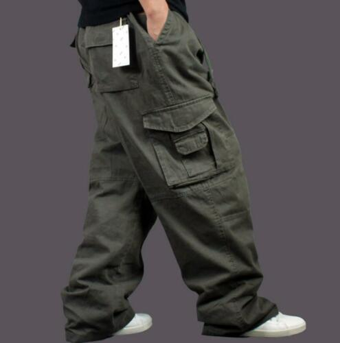 Mens Army Baggy Loose Cargo Casual Pants Overalls Cotton Outdoor Work Trousers