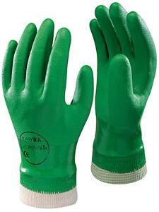 10 Pairs of SHOWA 600 PVC Coated Green Garden Grip Gloves - Knitwrist Waterproof