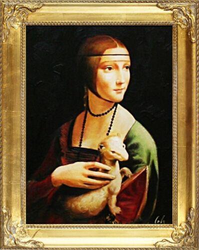 Leonardo da Vinci-Dame mit Hermelin-Große Meister-47x37 Ölgemälde Handgemalt