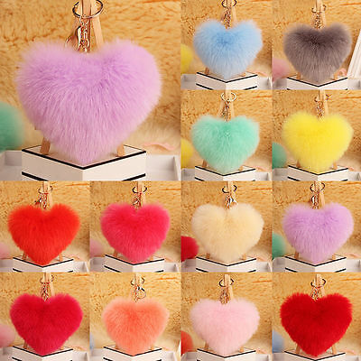 Soft Faux Fluffy Rabbit Fur Heart Keyring Handbag Pendant Charm Pompom Keychain