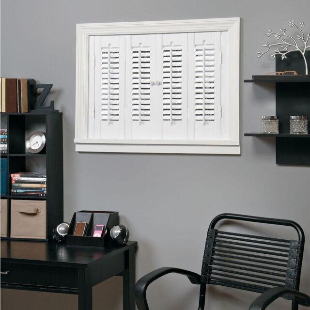 Interior Shutters 23 x 36 in White Faux Wood Indoor Vinyl Window Treatment Pair