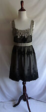 Ryu Small Gray Cotton Black Mesh Lace Embroidered Pieced Babydoll Dress Frock