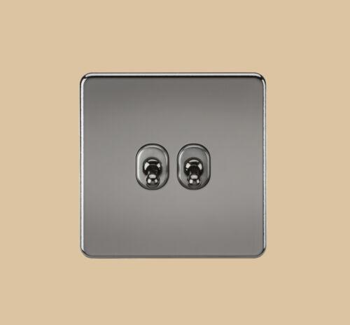 Black Nickel Toggle Switch 1,2,3,4 Gang and Intermediate Flat Plate Screwless