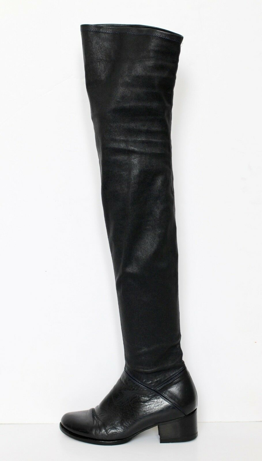 VANESSA BRUNO black leather over the knee boots IT37 UK4.5 US7 RRP