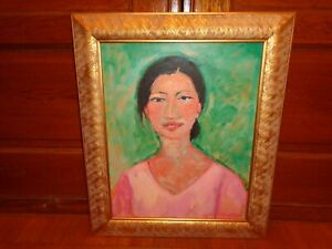 Suk-Shuglie-Oil-on-Canvas-Painting-of-a-Female-Signed-amp-Dated-19-98