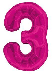 Rose-Numero-3-3rd-Fete-Geant-D-Anniversaire-Ballon-D-039-Aluminium-Supershape-Helium