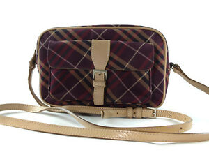 b986640aa Image is loading Auth-BURBERRY-LONDON-BLUE-LABEL-Reds-Nylon-Canvas-