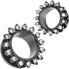 PAIR Stainless Steel Preciosa White Opal Rimmed Screw Fit Ear Flesh Tunnel Plugs