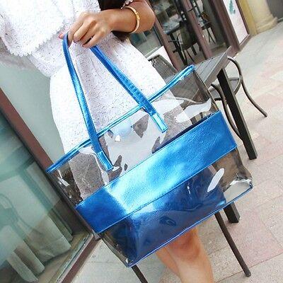 Women Jelly Handbag Summer Beach Shoulder Bag Shopping Purse Travel Tote Bag 2PC