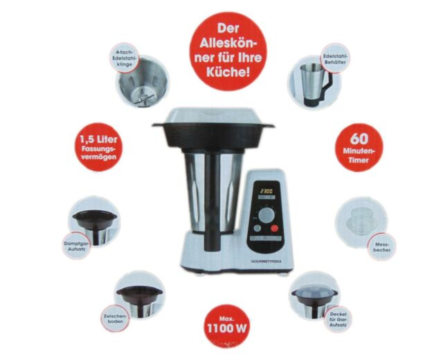 Gourmetmaxx Thermo Multikocher Premium 1100w Kochen Mixen ...