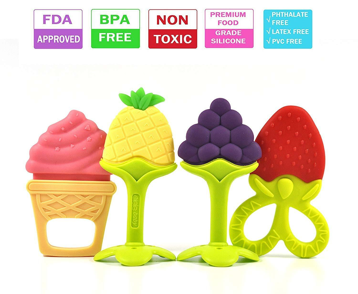 Soft Food Grade Silicone Sensory Teether Toy Teething Baby Chewing BPA Free