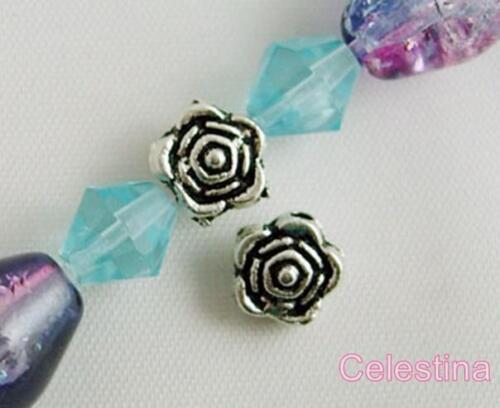 Flower Spacer 25 x 6.5mm Silver Plated Rose Spacer Beads SP18