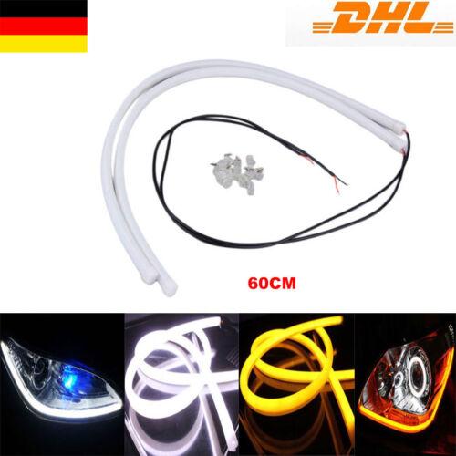 60CM Tagfahrlicht LED Streifen Schlauch Lichter Leuchten Weiß Gelb DRL Foglight