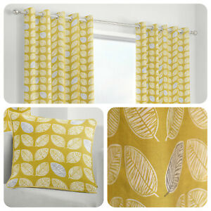 Fusion-DELFT-Ochre-Yellow-Leaf-Patterned-100-Cotton-Eyelet-Curtains-amp-Cushions