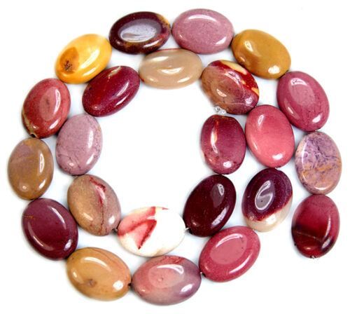 """13x18mm Natural Colorful Mookatie Flat Oval Gem Beads 15/"""""""
