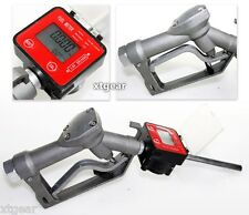 Fuel Gasoline Diesel Petrol Oil Gun w/Digital Flow Meter Manual Nozzle Dispenser