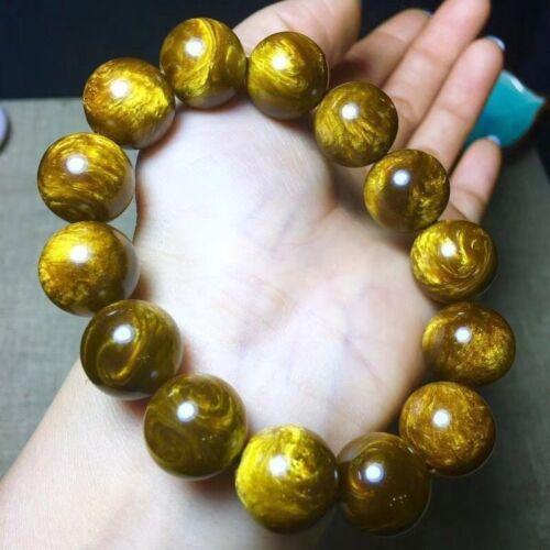 Genuine Golden Black Coral Sea Willow Bracelet Beads 16 mm