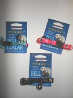 Marshall Rhinestone Ferret Bell Collar - 3 Pack (1 Black, 1 Teal, 1 Pink)
