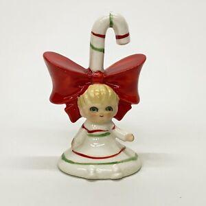 Vintage-Lefton-Japan-3-Christmas-Girl-Pixie-Elf-Candy-Cane-Bell-Figurine