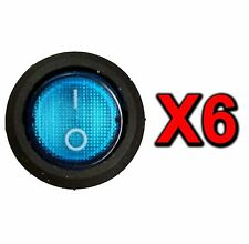 6 BLUE LED LIGHTED SPST ON/OFF TOGGLE ROUND ROCKER 12V DC SWITCHES CAR BOAT