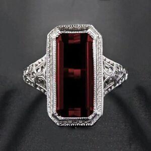 Image Is Loading Elegant 925 Sterling Silver Rectangle Red Ruby Garnet
