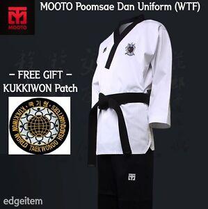 MOOTO BS4 White Dan Uniform Dobok Martial Arts Taekwondo Tae Kwon Do TKD WTF