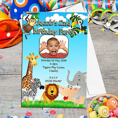 10 Personalised Girls Boys Jungle Animals Birthday Party PHOTO Invitations No35