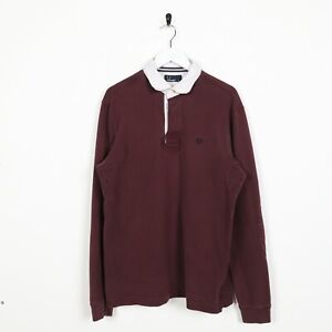 Vintage-FRED-PERRY-Long-Sleeve-Rugby-Polo-Shirt-Top-Burgundy-Red-Medium-M