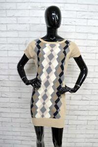 Vestito-BENETTON-Donna-Taglia-L-Abito-Sera-Lana-Dress-Elagante-Tubino-Aderente