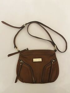 7b0ed23e109 Details about Franco Sarto Leather Brown Cross body Bag Purse Long Strap  Two Gold Zippers Flat