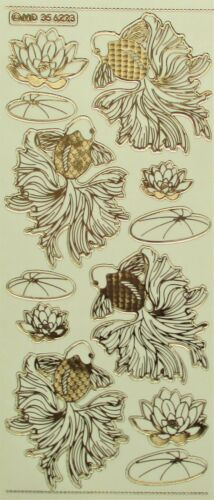 Double Embossed on Clear Goldfish PEEL OFF STICKERS Oriental Waterlilies