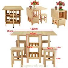 Folding Drop Leaf Erfly Dining Table And 4 Chairs Set Waxed Pine Solid Wood